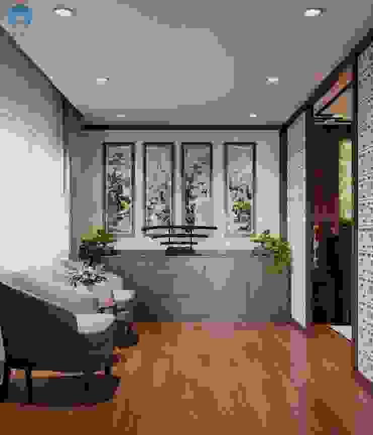 Bố trí đơn giản với ghế sofa đơn và tủ trưng bày bởi Công ty TNHH Nội Thất Mạnh Hệ Hiện đại Gỗ thiết kế Transparent