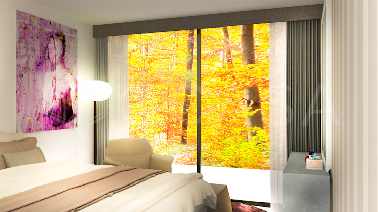 QCASA.Madrid. Viviendas industrializadas eficientes de hormigón Camera da letto moderna Cemento