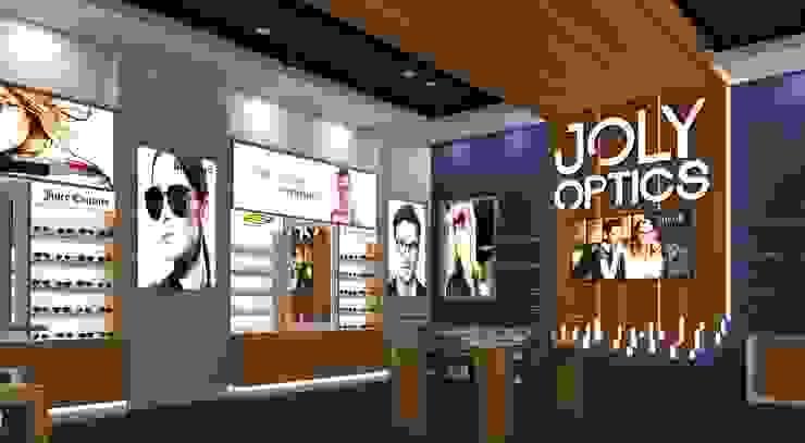 تصميم محل نظارات joly optics من dina george صناعي خشب Wood effect