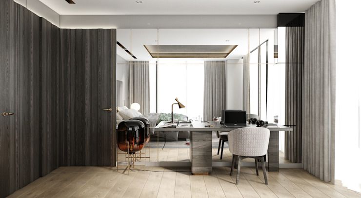 WALL INTERIOR DESIGN – OTEL PROJESİ:  tarz Yatak Odası, Modern