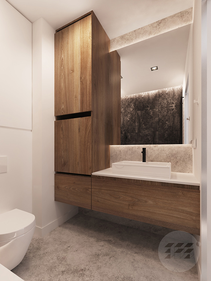 365 Stopni Minimalist style bathrooms Wood effect