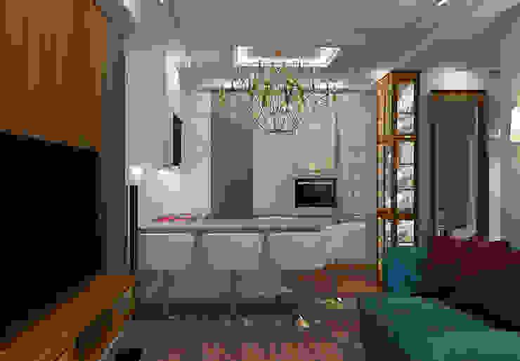 АМЕРИКАНСКАЯ КЛАССИКА DE LUXE (кухня-столовая) STUDIO DESIGN КРАСНЫЙ НОСОРОГ Столовая комната в классическом стиле Серый