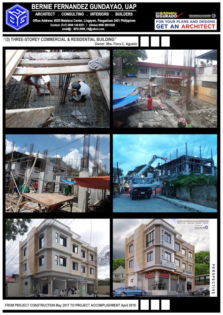 """""""THREE(3)-STOREY RESIDENTIAL & COMMERCIAL BUILDING"""" by BFG Architectural Services Asian Concrete"""