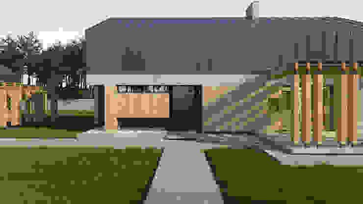 Projekt niewielkiego domu jednorodzinnego do 100m2 Budownictwo i Architektura Marcin Sieradzki - BIAMS Drwi wejściowe Drewno Brązowy
