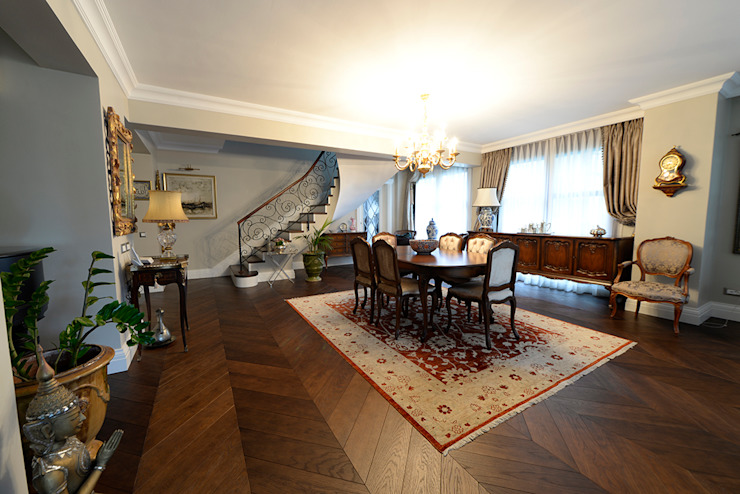 Dark Amber Klasik Oturma Odası Lantana Parke Klasik Ahşap Ahşap rengi