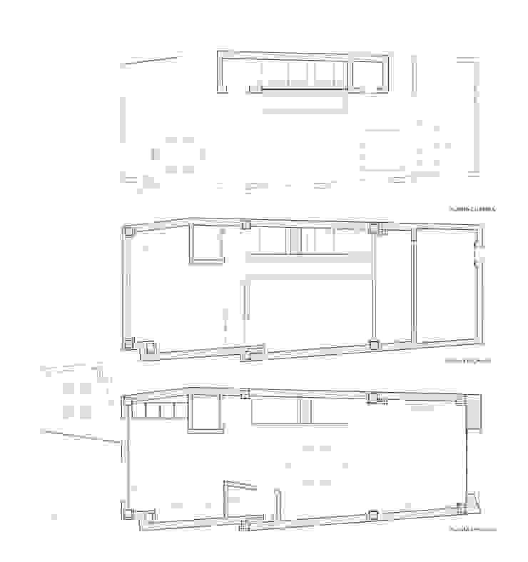 Planta 2, entreplanta y planta cubierta Casa Sants. Valencia Casas de estilo moderno de Barreres del Mundo Architects. Arquitectos e interioristas en Valencia. Moderno