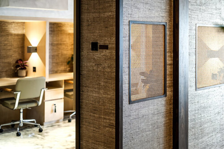 NICHE DESKS Tropical style offices & stores by S.Lo Studio Tropical Wood Wood effect