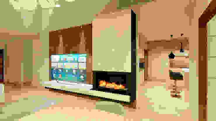 Salas de estilo moderno de QCASA.Madrid. Viviendas industrializadas eficientes de hormigón Moderno Concreto