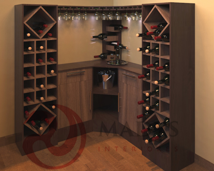 MADYS INTERIORES Scandinavian style wine cellar Multicolored