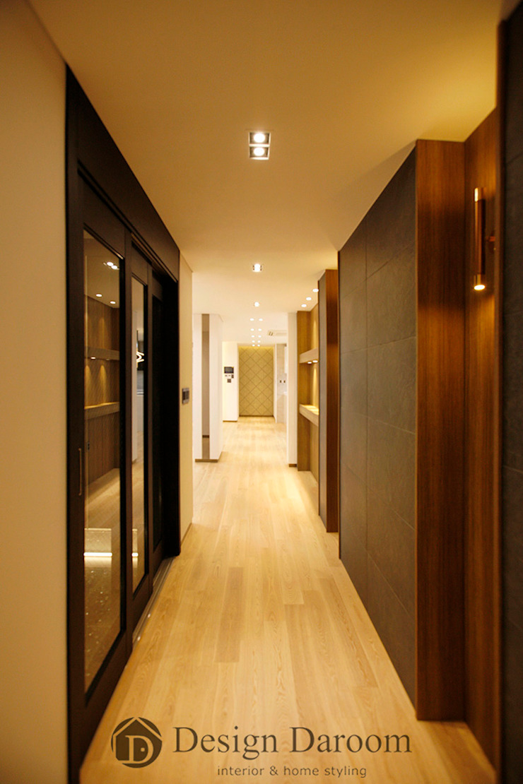 김포 전원주택 78py 1층 복도 모던스타일 복도, 현관 & 계단 by Design Daroom 디자인다룸 모던