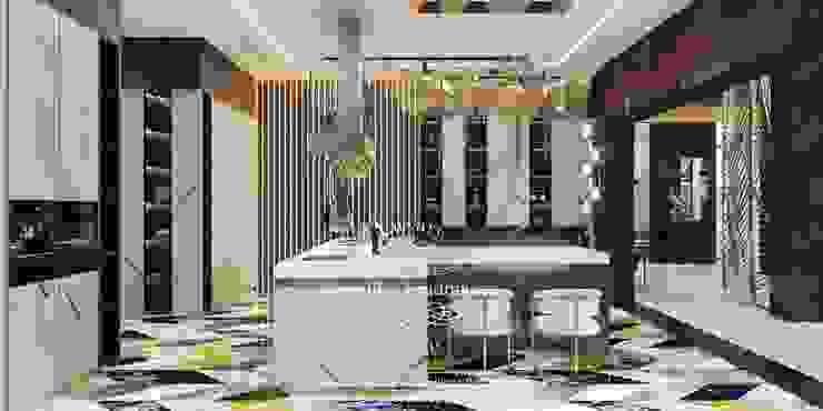 Дизайн-проект интерьера виллы в Куршавеле Кухни в эклектичном стиле от Дизайн-студия элитных интерьеров Анжелики Прудниковой Эклектичный