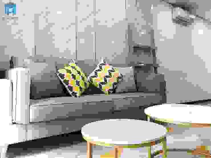 Ghế sofa chữ I phòng khách bởi Công ty TNHH Nội Thất Mạnh Hệ Hiện đại Gỗ thiết kế Transparent