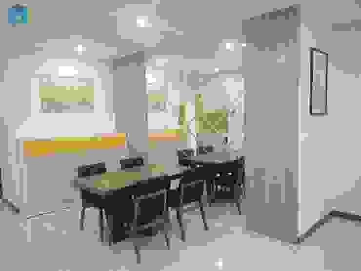Vách ốp tường kính cường lực tráng thủy tăng diện tích không gian Phòng ăn phong cách hiện đại bởi Công ty TNHH Nội Thất Mạnh Hệ Hiện đại Gạch ốp lát
