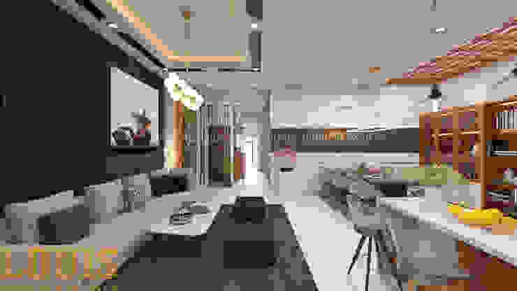 Phòng khách nhà ống hiện đại nối liền với bếp – bàn ăn bởi Công Ty Thiết Kế Xây Dựng LOUIS