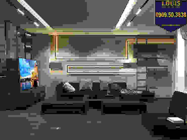 Phòng khách nhà ống hiện đại ghi dấu ấn bởi gam màu tối đầy lịch lãm bởi Công Ty Thiết Kế Xây Dựng LOUIS