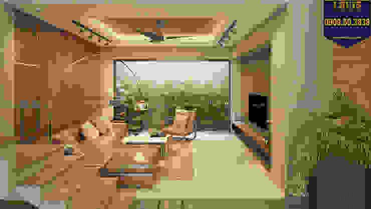 Phòng khách nhà ống gần gũi với thiên nhiên bởi Công Ty Thiết Kế Xây Dựng LOUIS