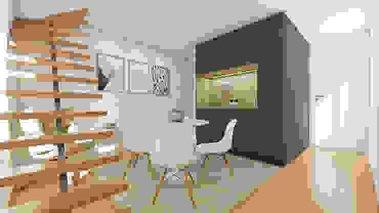 Loft com kitchenette Art Fusion Salas de estar modernas