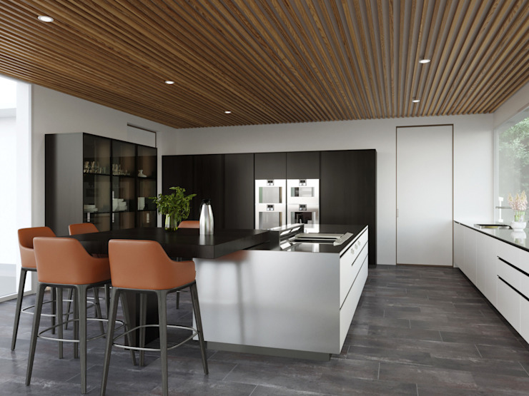 Kitchen 3D Maximum Modern dining room Wood Orange
