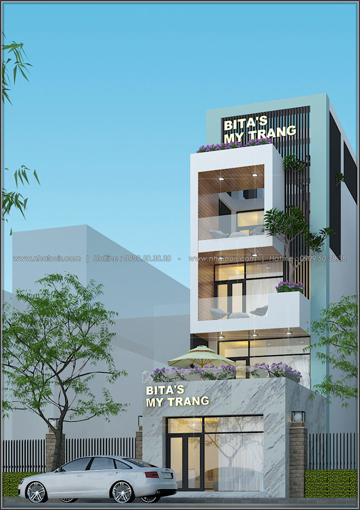 Thiết kế nhà mặt phố kinh doanh phong cách hiện đại bởi Công Ty Thiết Kế Xây Dựng LOUIS