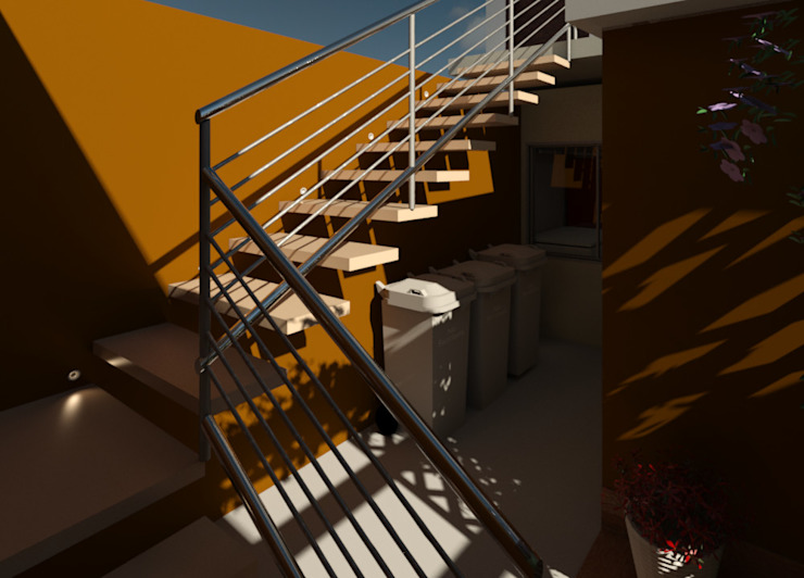 The steps to the administration of the Trattoria La Carbonara Elaine Hormann Architecture Modern Study Room and Home Office Concrete Beige