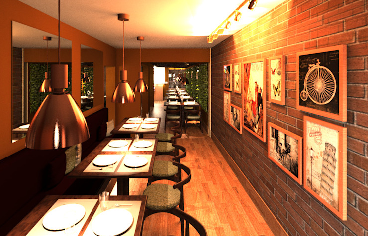 Hall and Gallery of the Trattoria La Carbonara Elaine Hormann Architecture Modern Corridor, Hallway and Staircase Bricks Beige