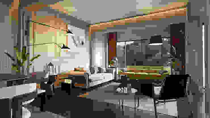 Demir Evi Salon Modern Oturma Odası Entrada Mimarlık Modern Ahşap Ahşap rengi
