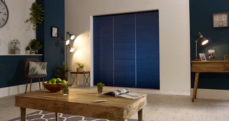 Honeycomb thermal ULTRA Smart blinds with one-touch control Appeal Home Shading ห้องนั่งเล่นของตกแต่งและอุปกรณ์จิปาถะ Blue