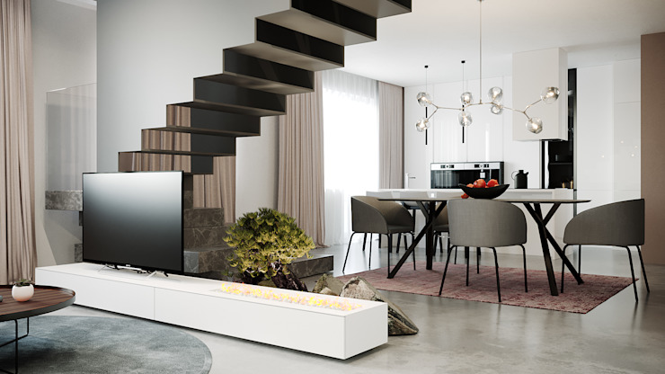 гостиная Minimalist living room by дизайн студия А Гординского Minimalist Wood-Plastic Composite