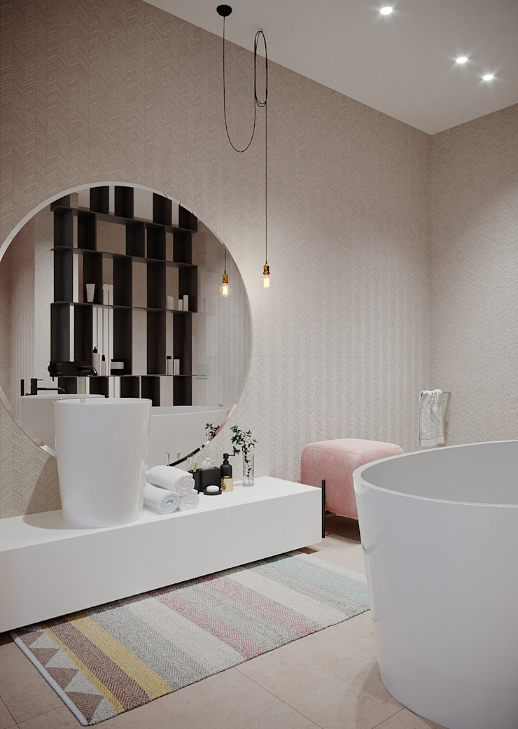 дизайн студия А Гординского Baños de estilo minimalista Cerámico Multicolor