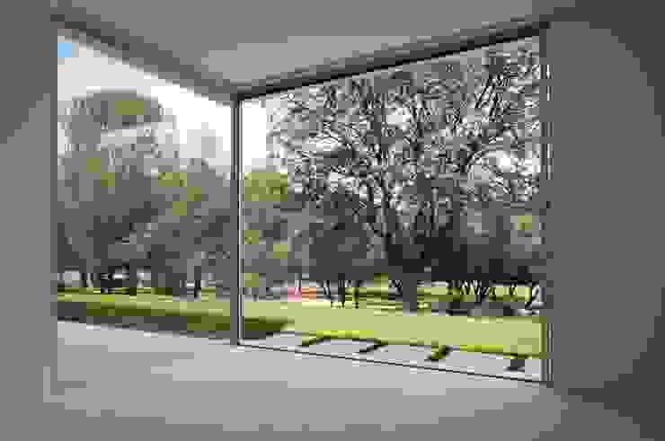 Grandes ventanales Salones de estilo mediterráneo de Otto Medem Arquitecto vanguardista en Madrid Mediterráneo
