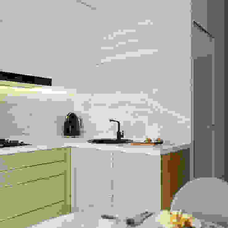 Эргономика и лаконичность: дизайн 3-комнатной квартиры в современном стиле Кухни в эклектичном стиле от Архитектурное бюро «Парижские интерьеры» Эклектичный