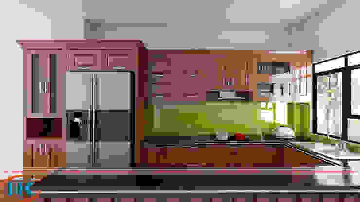 Hình ảnh tủ bếp chữ U gỗ sồi đã thi công bởi Nội thất Nguyễn Kim