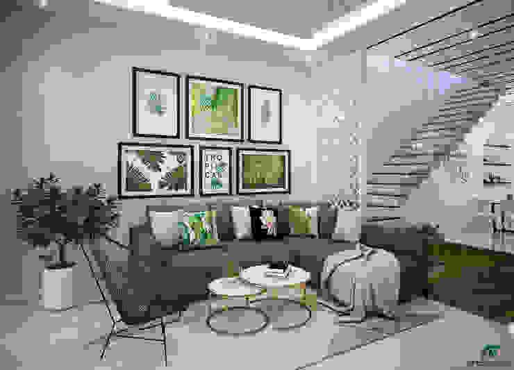 Thiết kế mặt tiền và nội thất nhà phố An Bình Tân Nha Trang bởi Công ty AT Architects