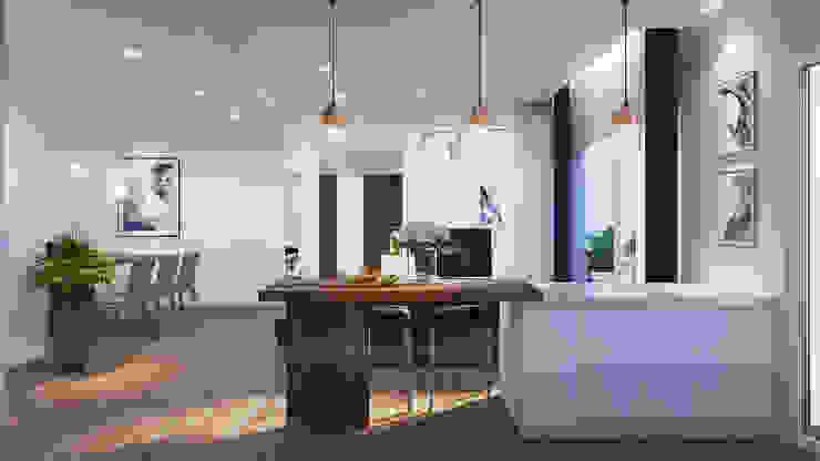 CĂN HỘ TROPIC GRADEN Nhà bếp phong cách hiện đại bởi RIKATA DESIGN Hiện đại