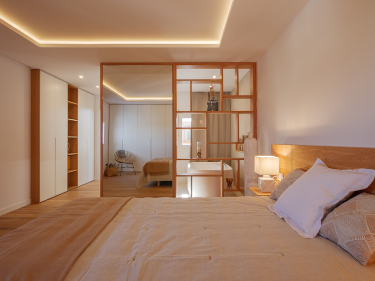 CORREA + ESTEVEZ ARQUITECTURA Modern Bedroom Solid Wood White