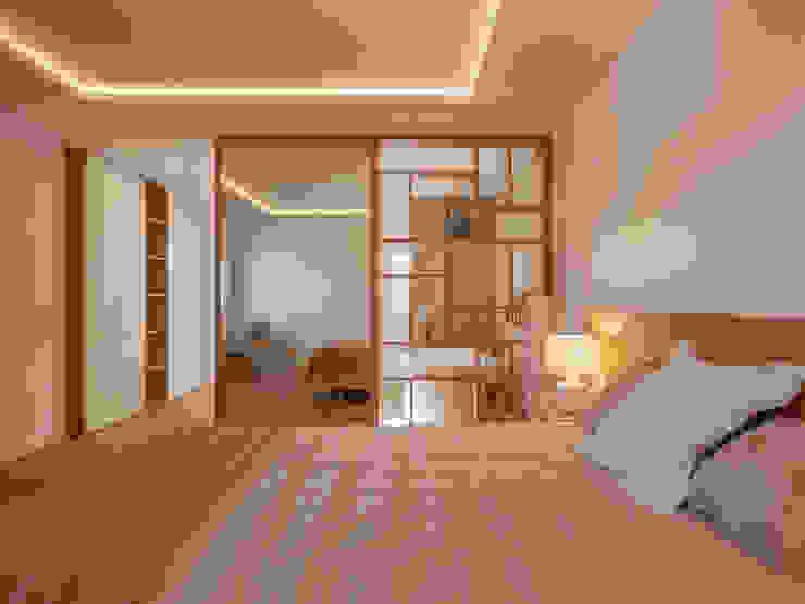 CORREA + ESTEVEZ ARQUITECTURA Camera da letto moderna Legno massello Bianco