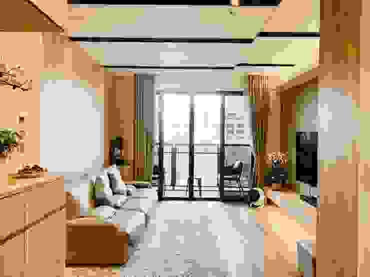 開放寬敞的客廳空間 根據 圓方空間設計 簡約風 合板