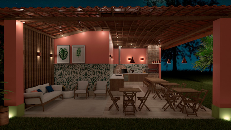 Villa Las Brisas - Grill Place at night by Elaine Hormann Architecture -Sao Paulo - Hamburgo Mediterranean