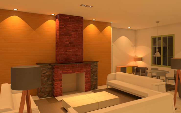 Villa Las Brisas - Living with fire place by Elaine Hormann Architecture Mediterranean Bricks
