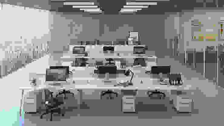 Oficinas Brickell Gabriela Afonso Oficinas de estilo moderno Blanco