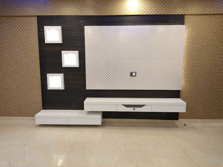 TV Unit with wallpaper in background VR Interior Designerss Asian style living room Plywood White