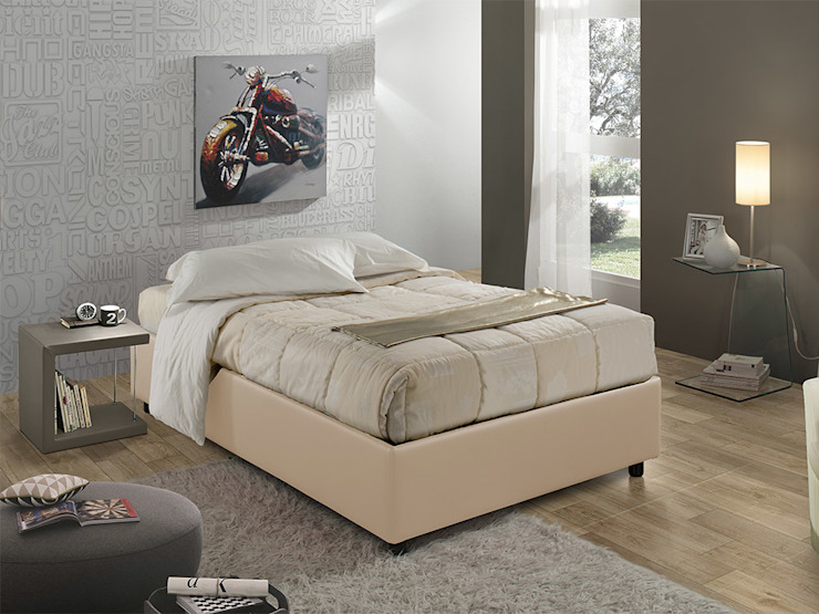 Sommier 120 upholstered bed INFABBRICA BedroomBeds & headboards Leather Beige