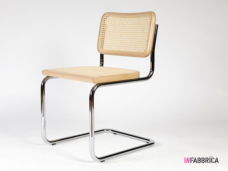 Cesca chair in chromed metal with wooden frame INFABBRICA Dining roomChairs & benches Iron/Steel Wood effect