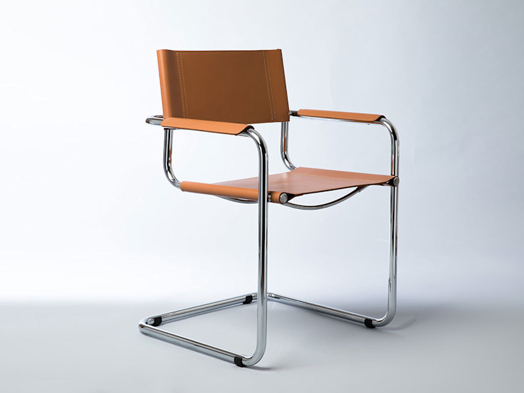 Mart Stamm chair with metal and leather armrests INFABBRICA Dining roomChairs & benches Iron/Steel Brown