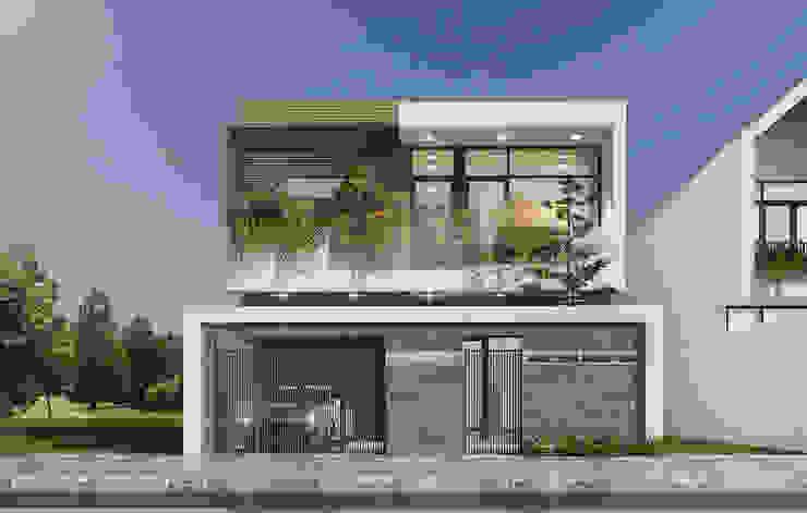 1/ Biệt thự mini 2 tầng đẹp giá rẻ có gara để xe trước nhà bởi Công Ty Thiết Kế Xây Dựng LOUIS