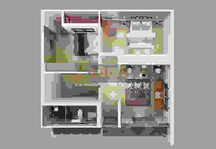 Biệt thự mini 2 tầng đẹp giá rẻ có gara để xe trước nhà bởi Công Ty Thiết Kế Xây Dựng LOUIS