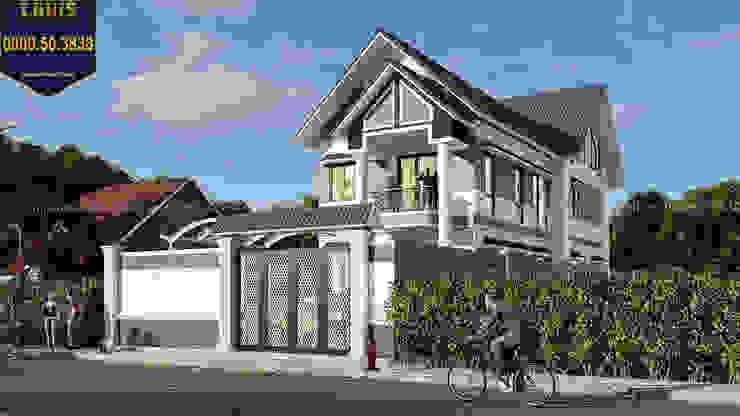 2/ Thiết kế biệt thự mini 2 tầng đẹp với mái thái bởi Công Ty Thiết Kế Xây Dựng LOUIS
