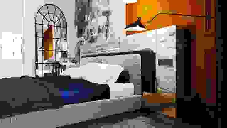 Otel Odası Tasarımı Alternatif 1 - Yatak Cephesi Akdeniz Oteller Entrada Mimarlık Akdeniz Ahşap Ahşap rengi