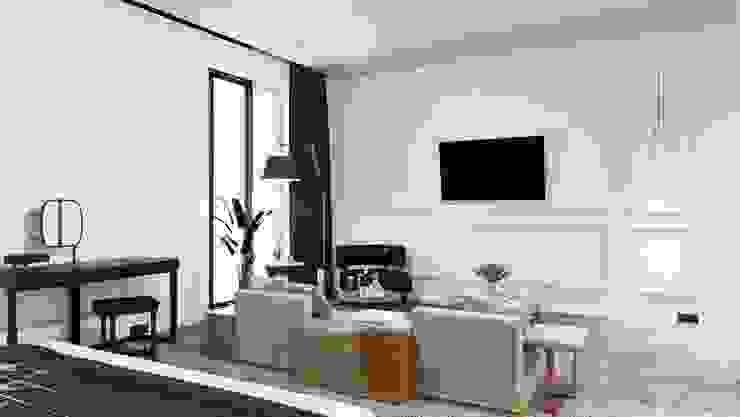 Otel Odası Tasarımı Alternatif 1 - Rahat Oturum Cephesi Akdeniz Oteller Entrada Mimarlık Akdeniz Ahşap Ahşap rengi