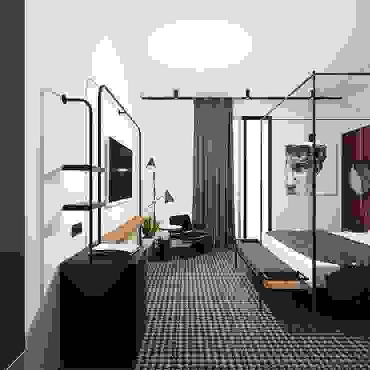 Otel Odası Tasarımı Alternatif 2 - Televizyon Cephesi Akdeniz Oteller Entrada Mimarlık Akdeniz Ahşap Ahşap rengi